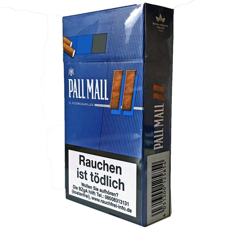 10x Pall Mall Blue / Blau XL Filter Cigarillos  (17 Stück)