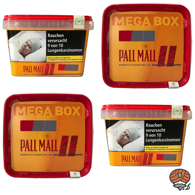 4x Pall Mall Allround Red Volumentabak / Tabak Mega Box à 155 g