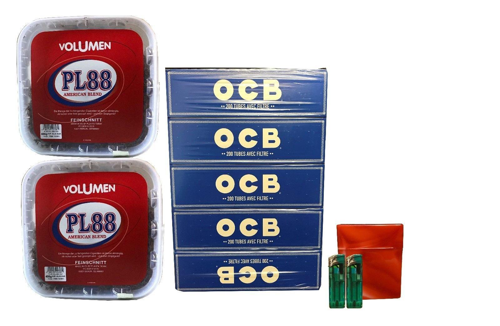 2x PL88 American Blend Tabak / Volumentabak 400g Eimer, OCB Hülsen + Zubehör