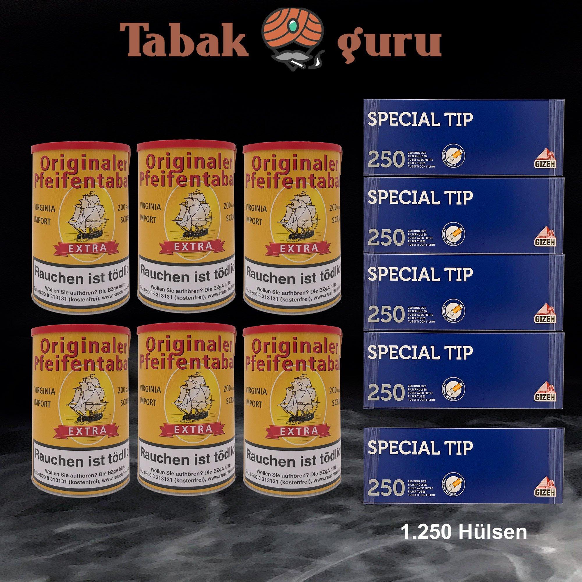 6 x Originaler Pfeifentabak Extra á 200g + 1.250 Gizeh Special Tip Hülsen