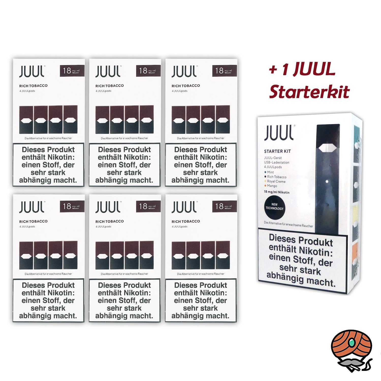 JUUL 6 Packungen Rich Tobacco Pods á 4 Pods 18mg/ml + 1 JUUL Starterkit