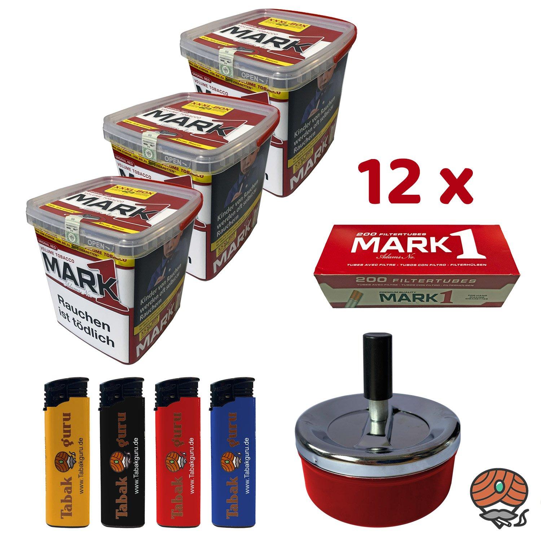 3x Mark Adams No. 1 Volumentabak à 400g XXXL-Box, 12x Mark1 Hülsen, Zubehör