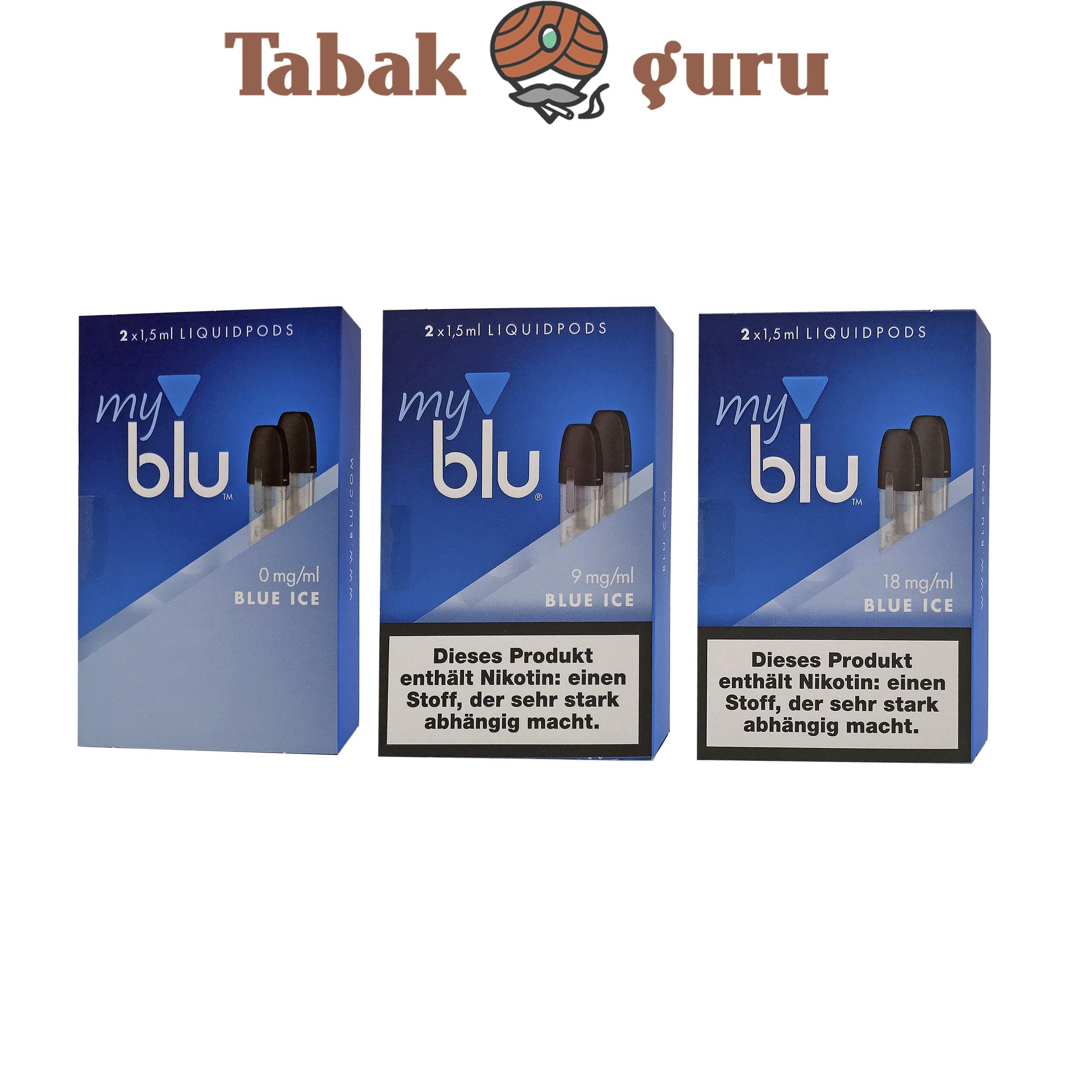 3x My Blu Liquid Pods Blue Ice 0 mg / 9 mg / 18 mg