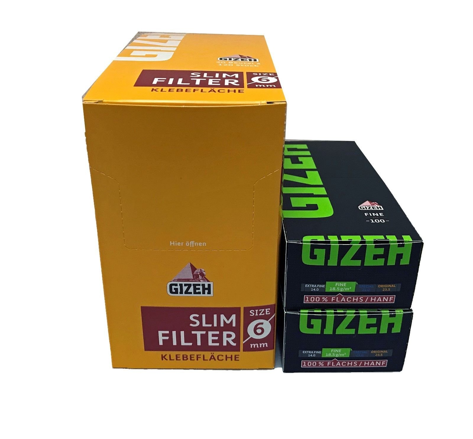 Gizeh Magnet Grün / Fine Blättchen - Papers + Gizeh Slim Filter
