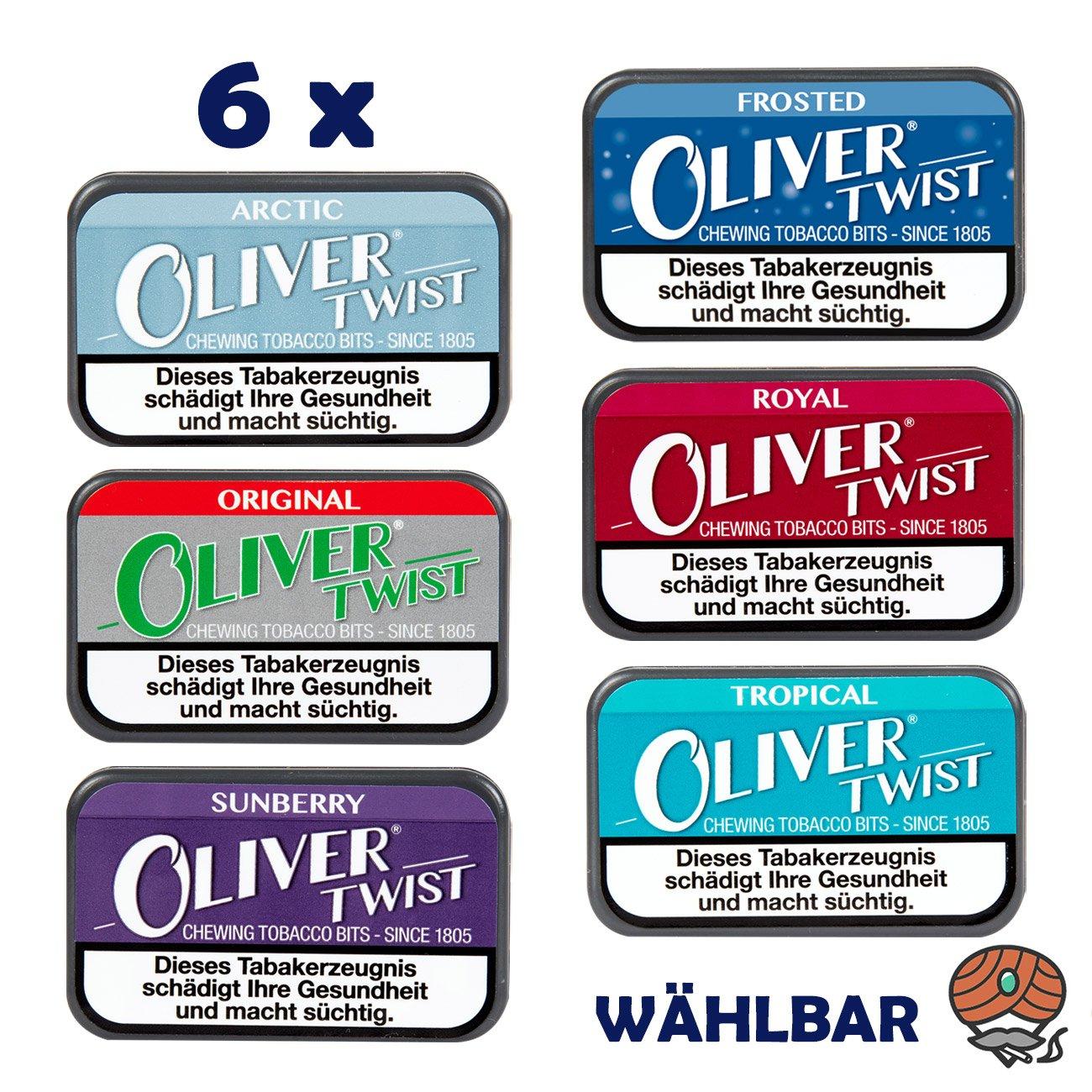 6 x Oliver Twist Tabakpastillen, Kautabak, Chewing Bits, alle Sorten WÄHLBAR