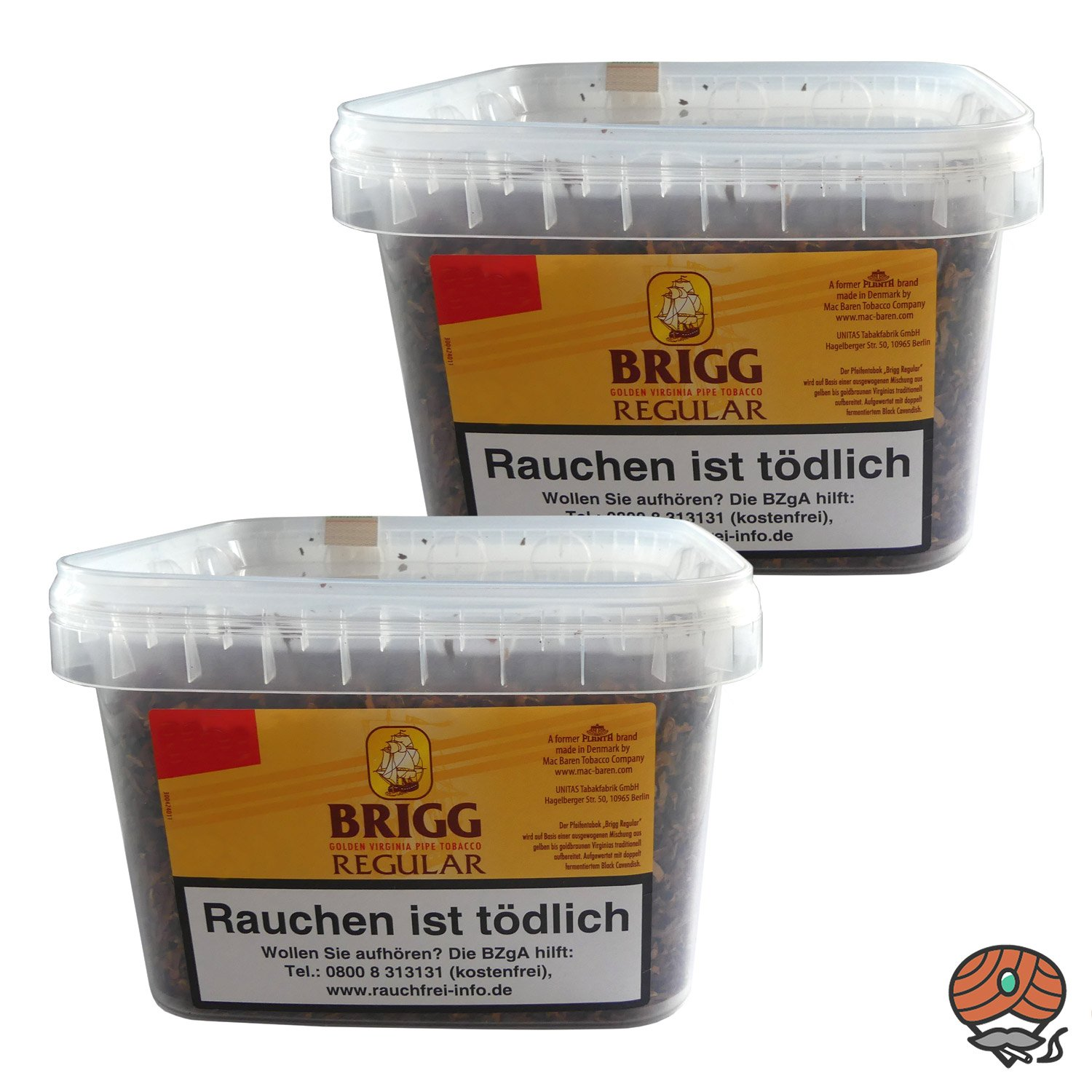 2x Brigg Regular Pfeifentabak (Golden Virginia Tabak) im 400 g Eimer