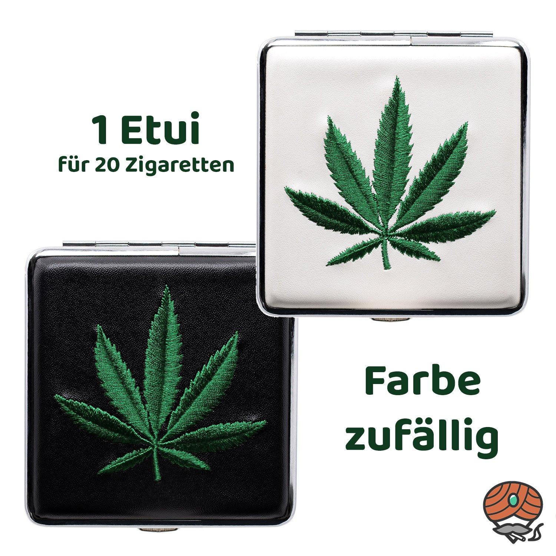 Atomic Metall Zigarettenetui mit Gummiband, mit gesticktem Hanfblatt, weiß oder schwarz