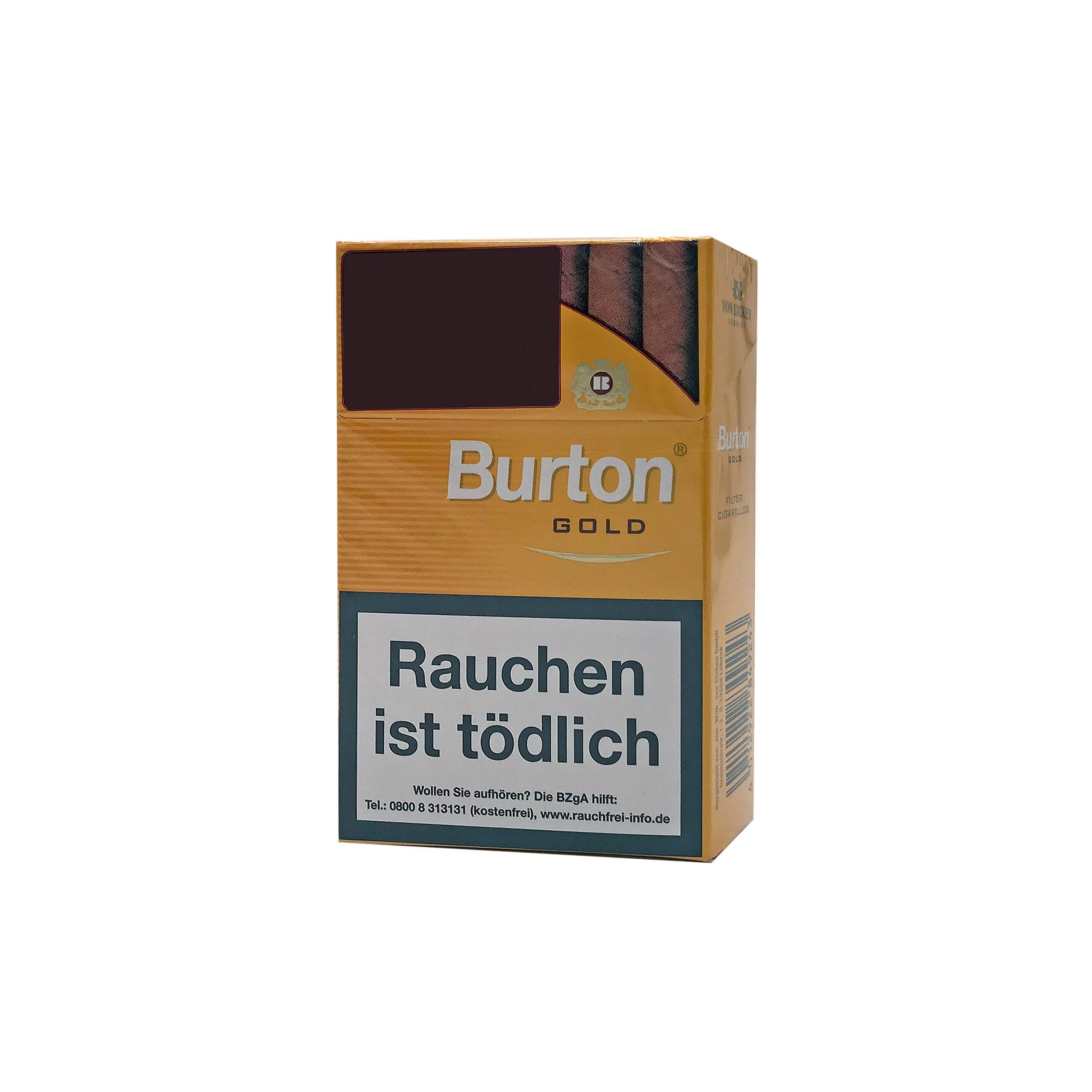 1 Stange Burton Gold Filter Zigarillos 10 Schachteln à 17 Stück