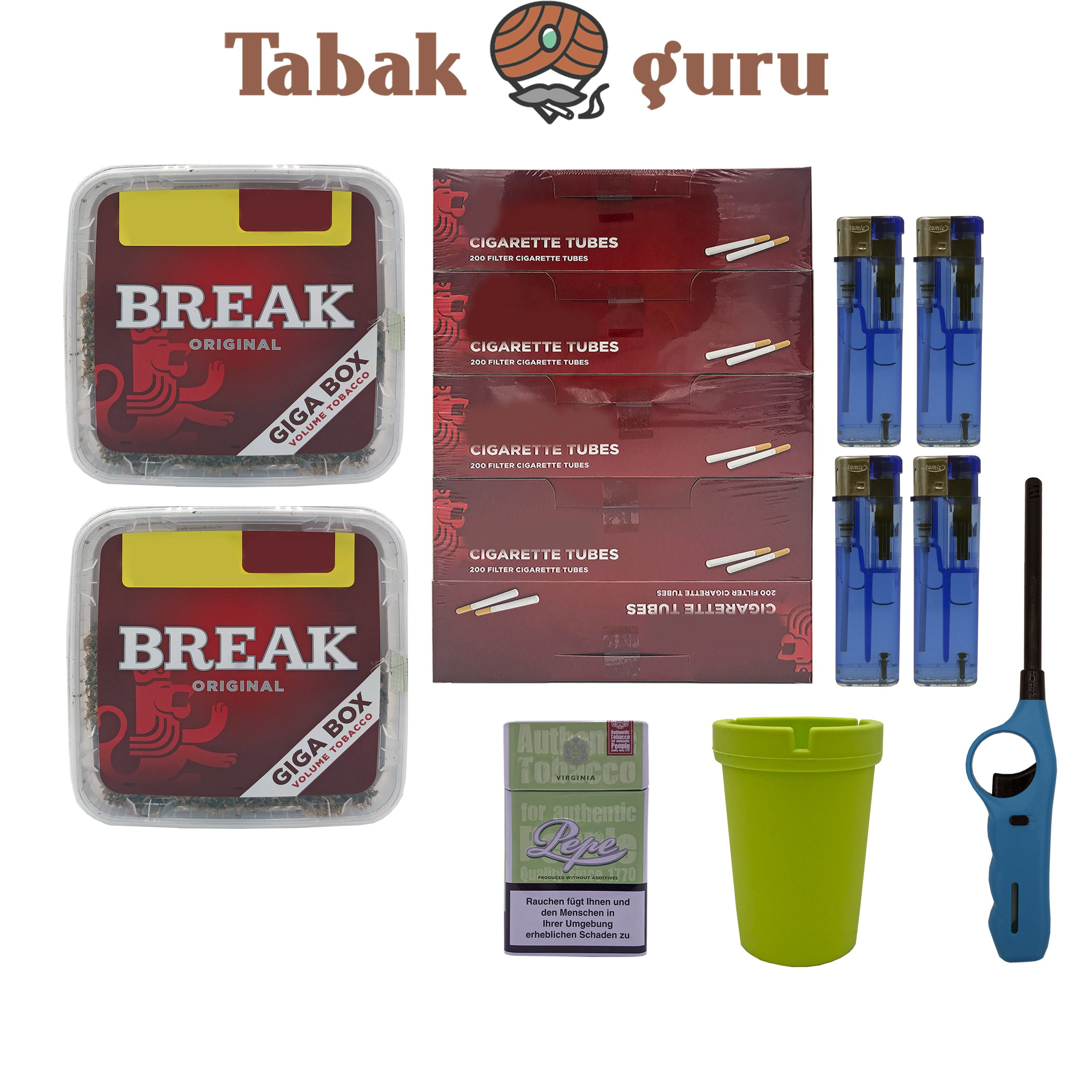 2x Break Volumentabak Giga Box 240g + Hülsen + Stabfeuerzeug