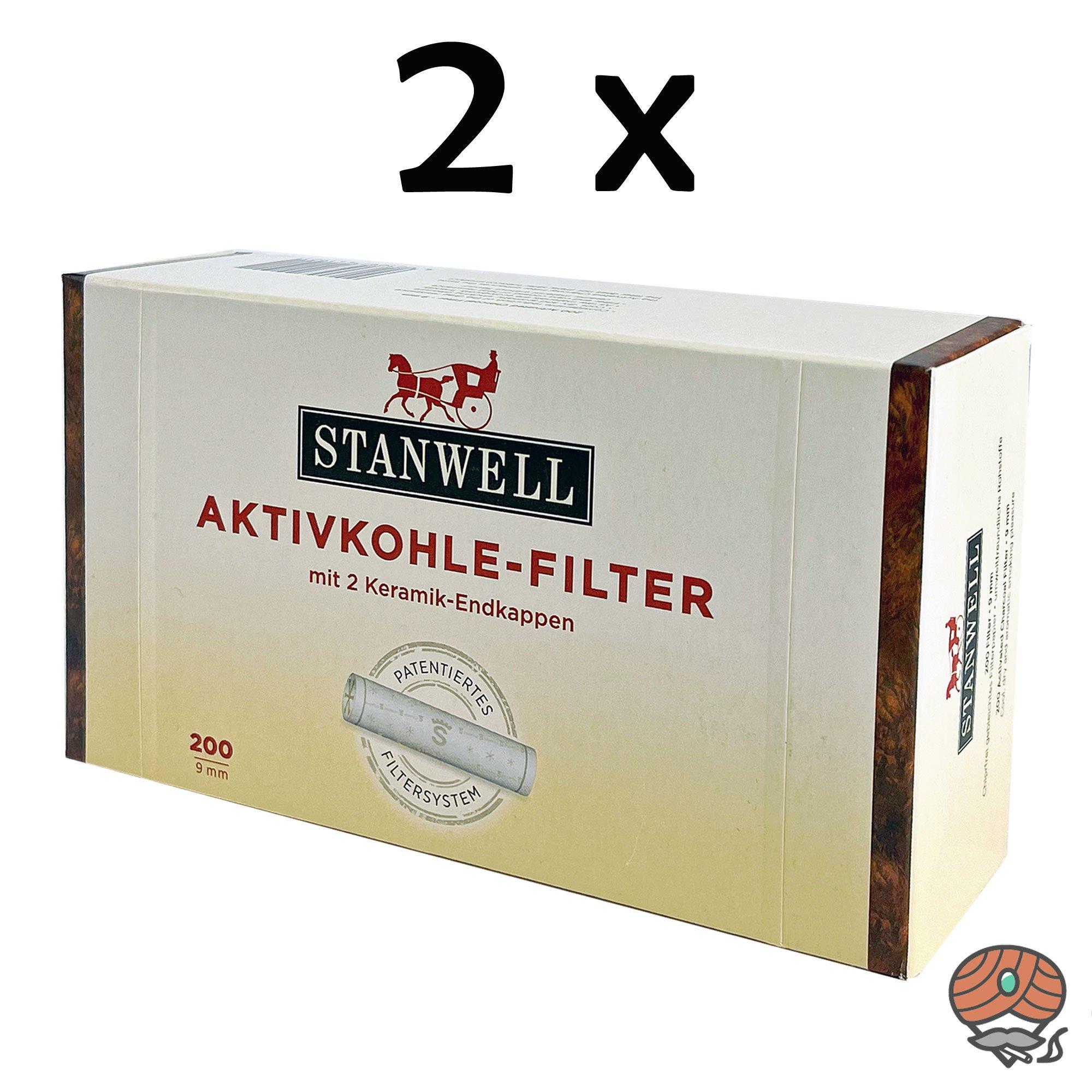 2x Stanwell Aktivkohle-Filter 9mm mit 2 Keramik-Endkappen à 200 Stück