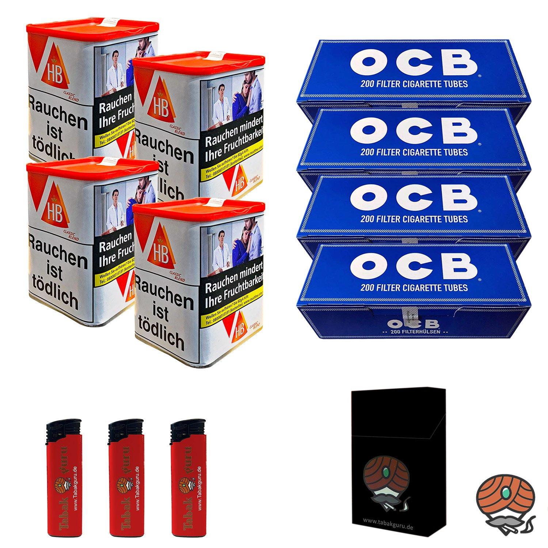 4x HB Classic Blend Feinschnitttabak 85 g Dose + 800 OCB Hülsen + Zubehör