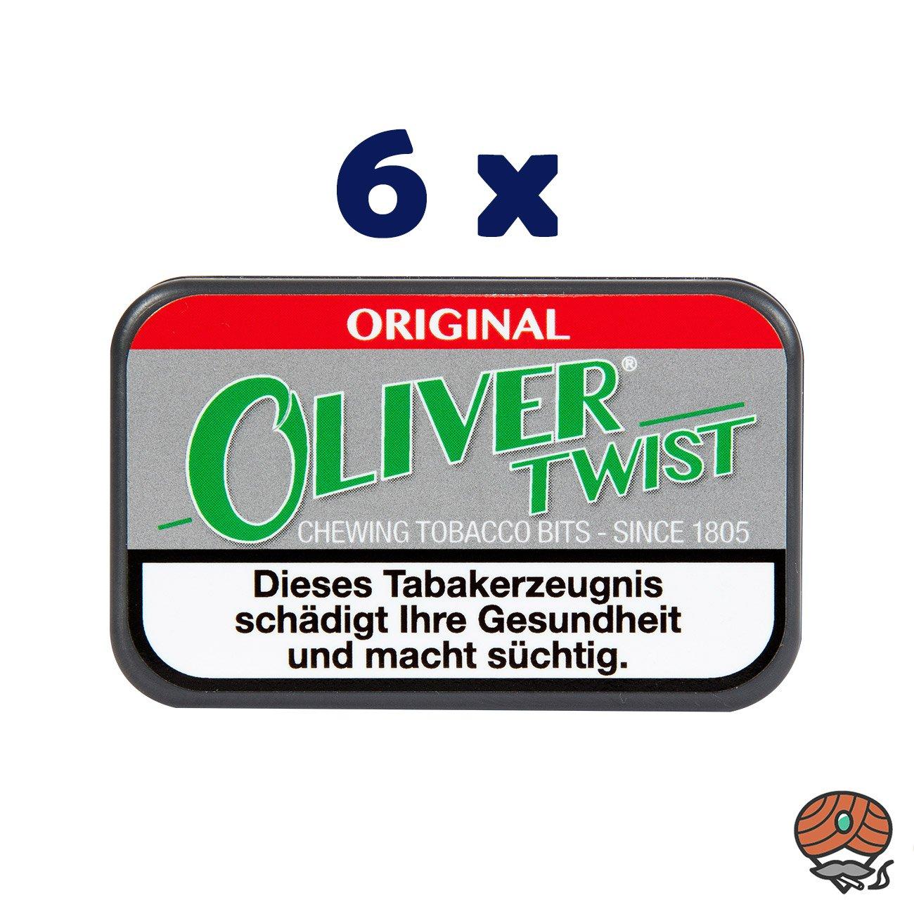 6 x Oliver Twist ORIGINAL Tabakpastillen, Kautabak, Chewing Bits