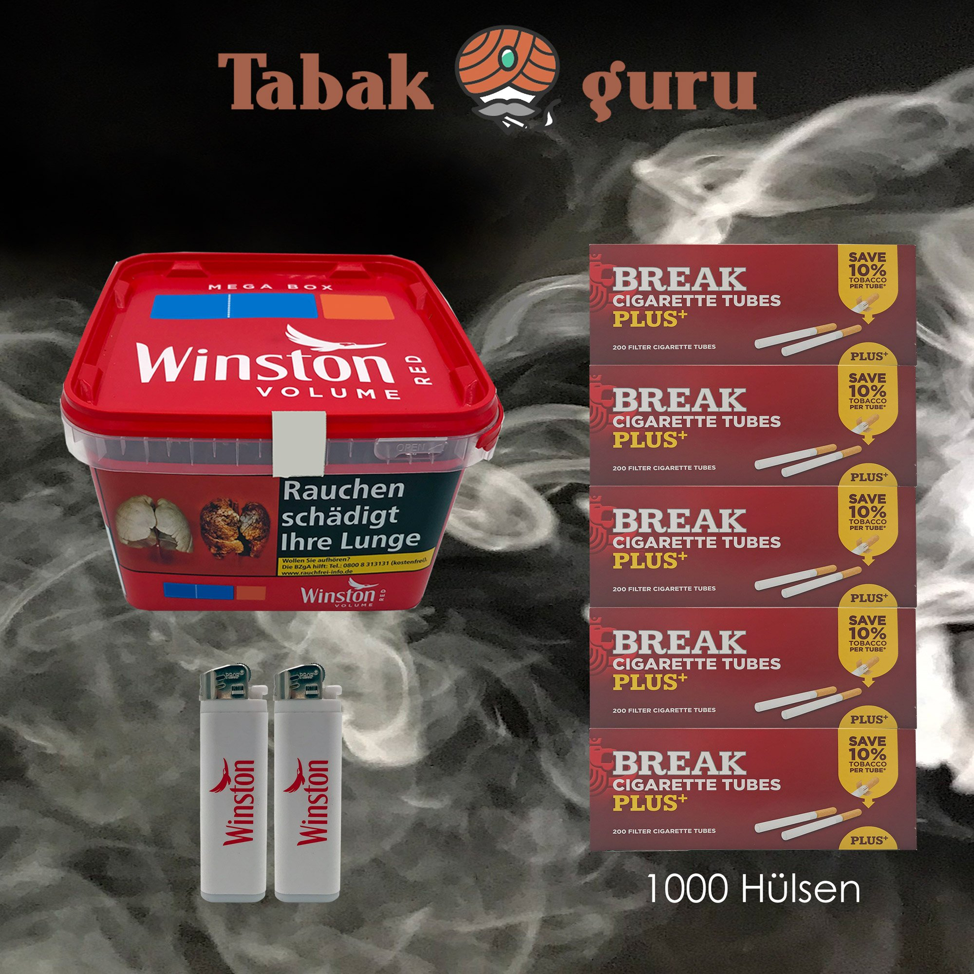 1x Winston Classic Red / Rot Mega Box 170g Volumentabak, 1000 Break Plus Hülsen