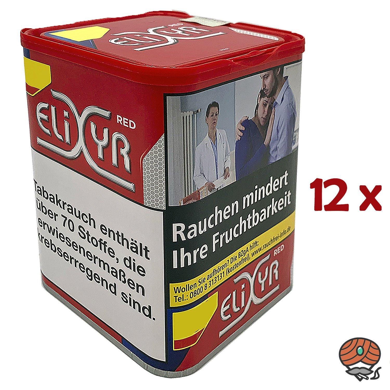 12x Elixyr Red / Rot Tabak / Feinschnitt-Tabak / Zigarettentabak Dose à 115g