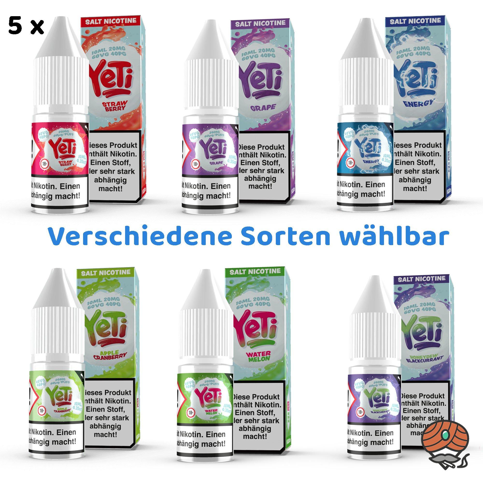 5 x YeTi Nikotinsalz Liquid 10 ml 20 mg/ml Nikotin alle Sorten wählbar