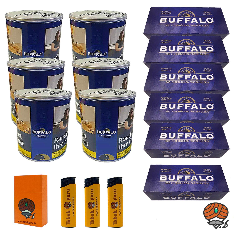 6 x Buffalo Blue Feinschnitt 150 g Dose + 6 x Buffalo Blue Hülsen + Zubehör