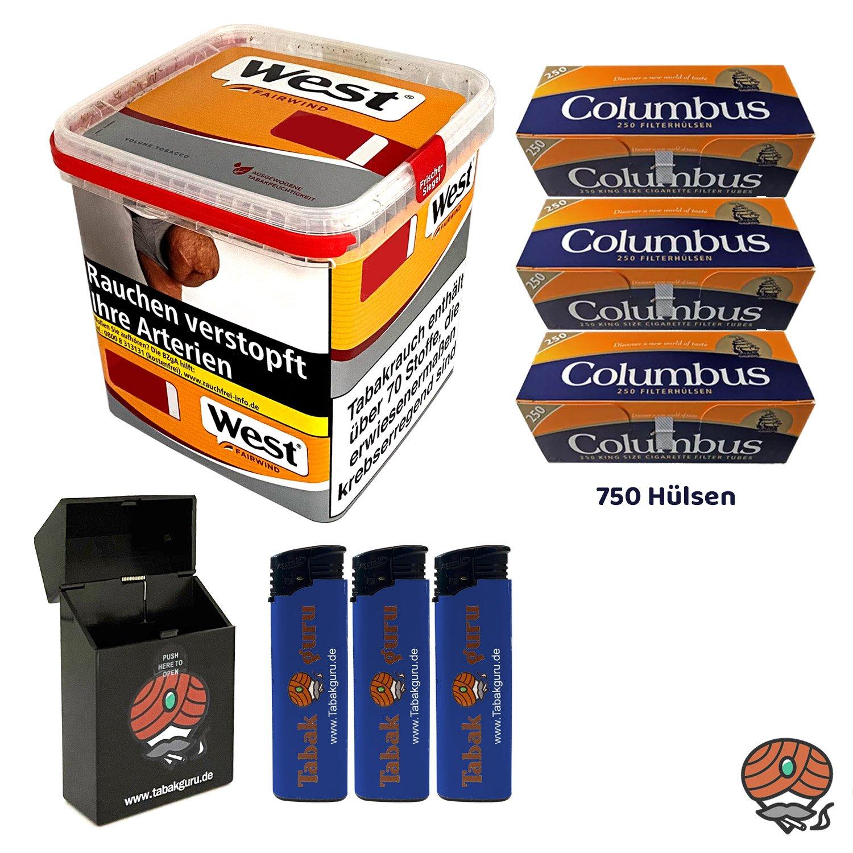 West Yellow Tabak / Stopftabak Box 280 g, 750 Columbus Hülsen, Zubehör