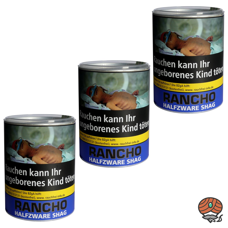 3 x Rancho Halfzware Shag Zigarettentabak Dose à 190 g