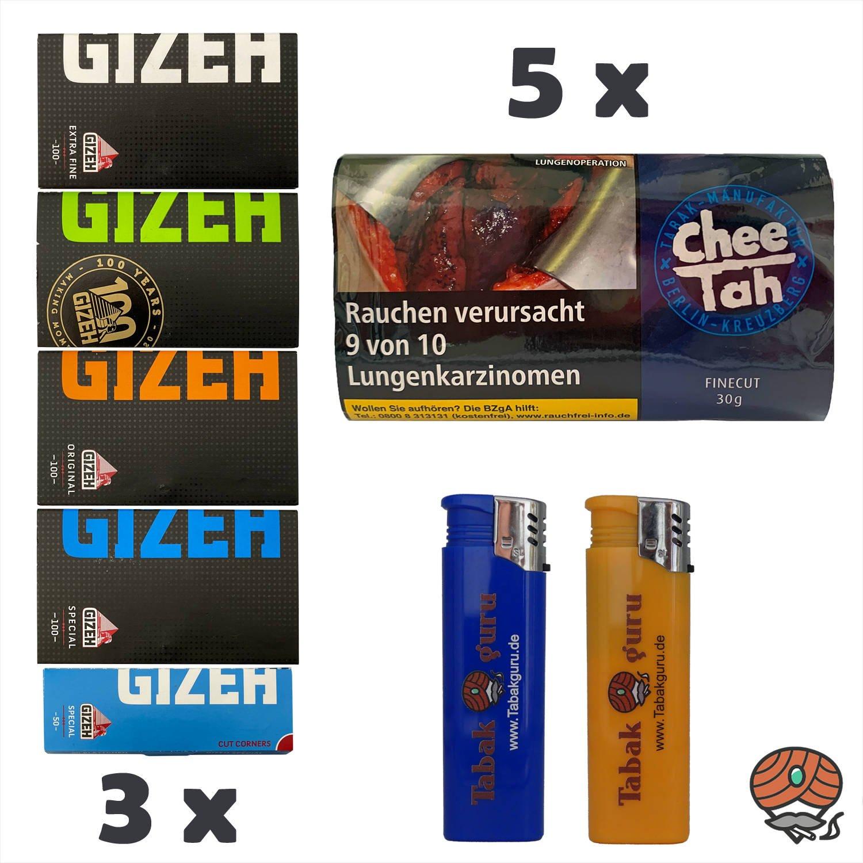 5 x Chee Tah Schwarz Zware Shag Drehtabak Pouch, 3 x GIZEH Papers