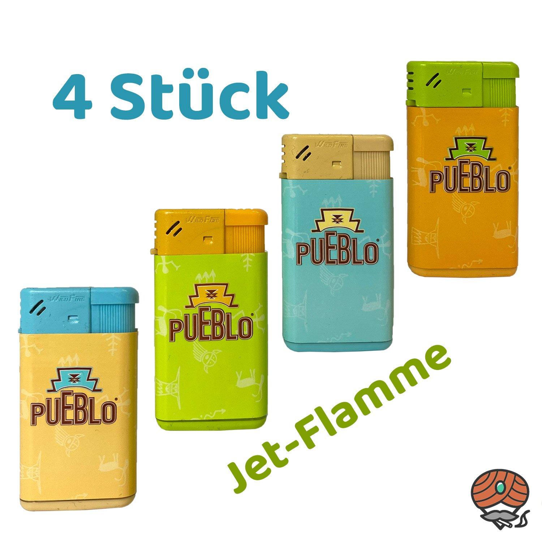 4 Pueblo Jet-Flame Feuerzeuge im Set