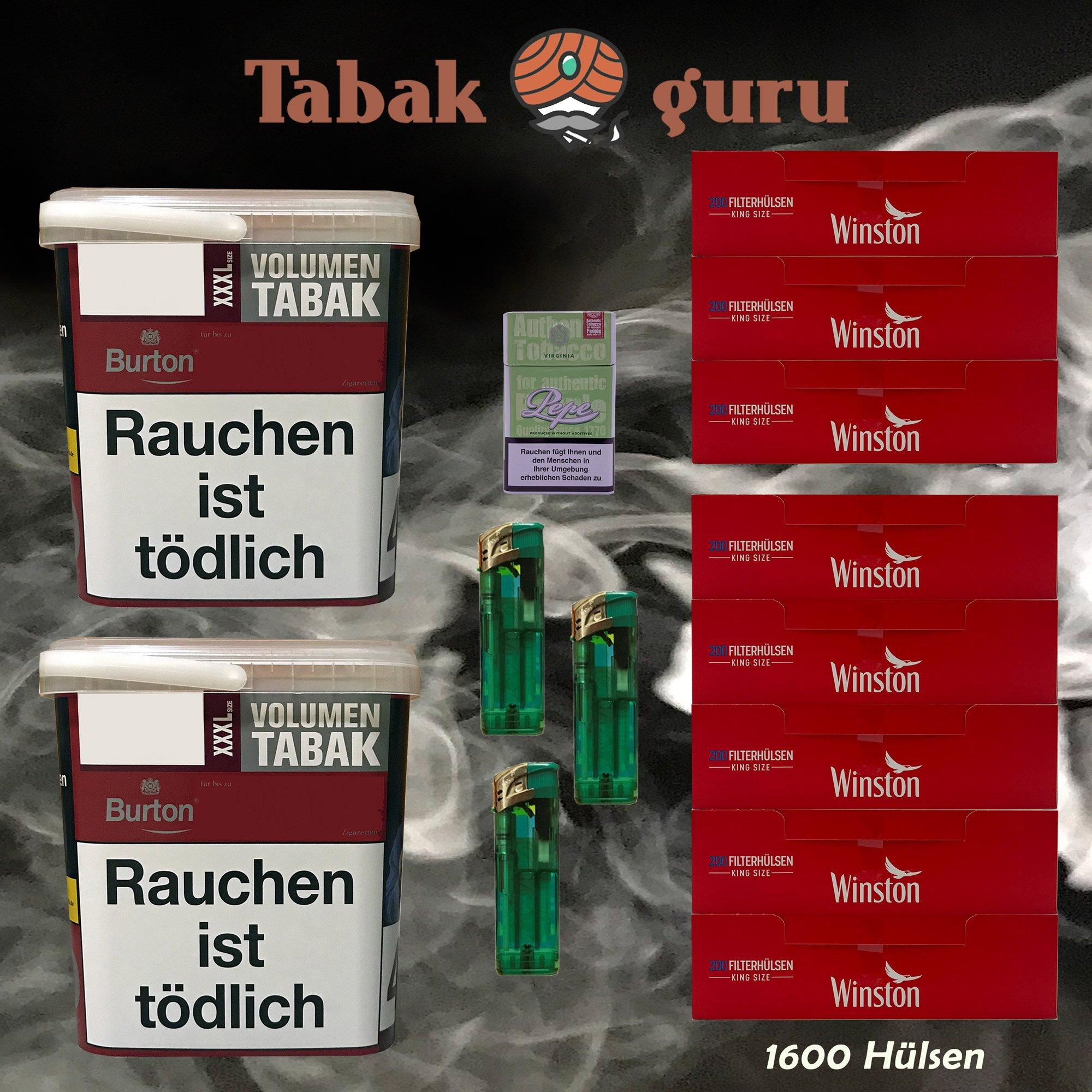 2x Burton Red Volumentabak XXXL Eimer 370g, 1600 Hülsen, Feuerz., Box