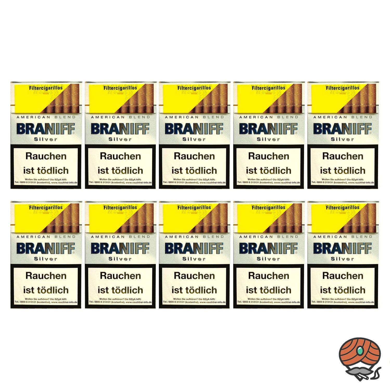 10 x Braniff Silver Filterzigarillos á 17 Stück - 1 Stange