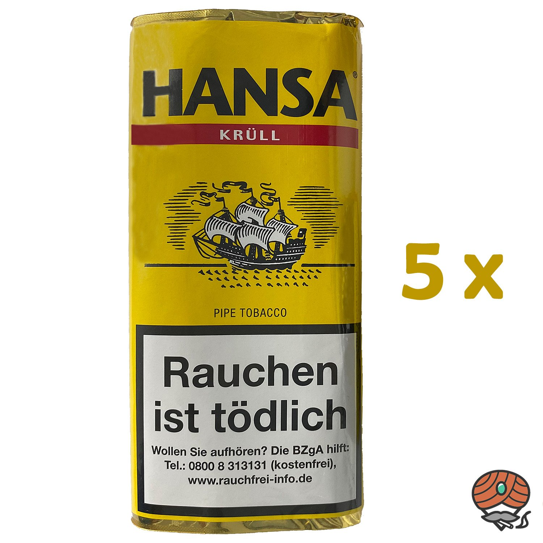 5x Hansa Krüll Pfeifentabak Pouch à 50 g