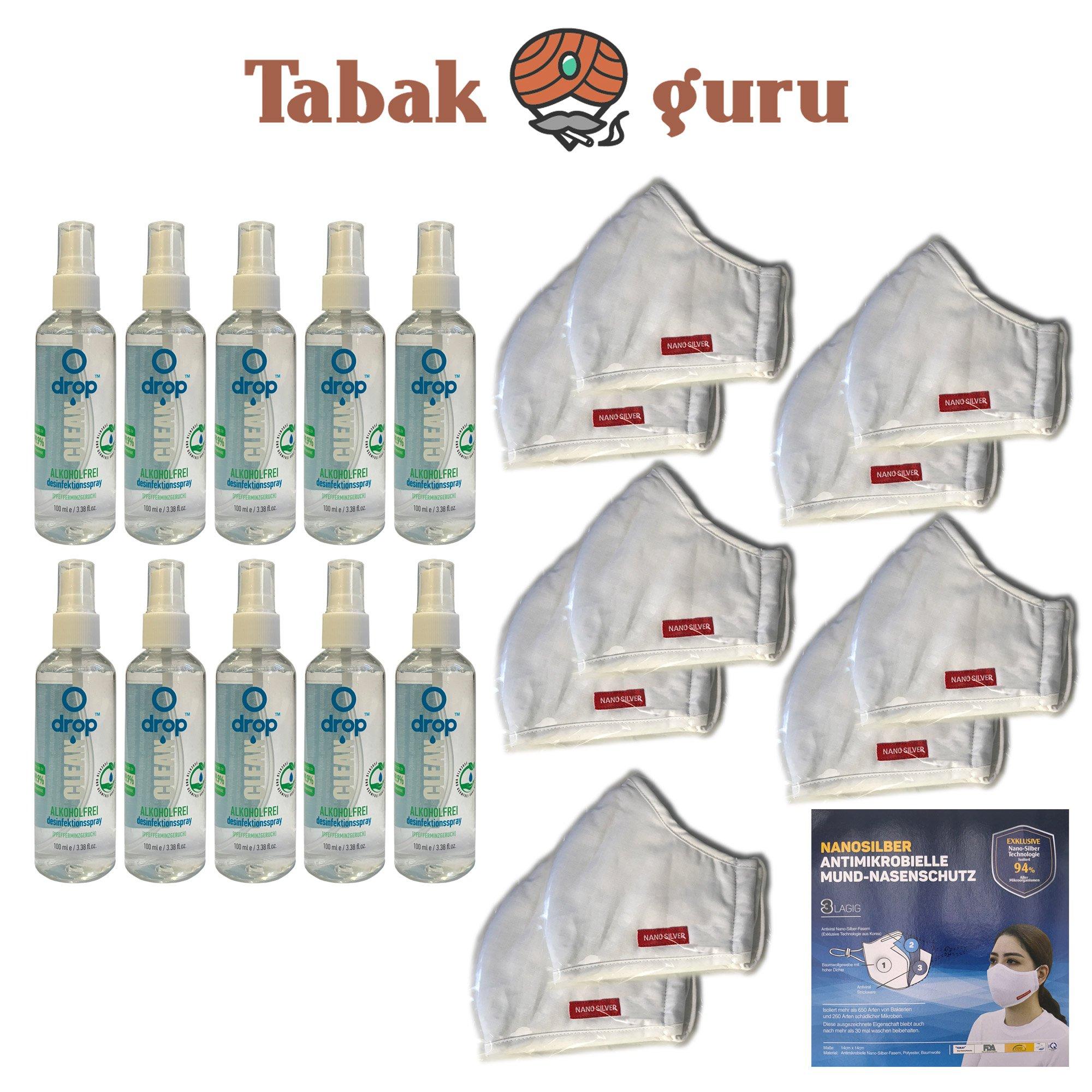 10 x  waschbarer, Mund-Nasenschutz + 10 x Desinfektionsspray 100ml