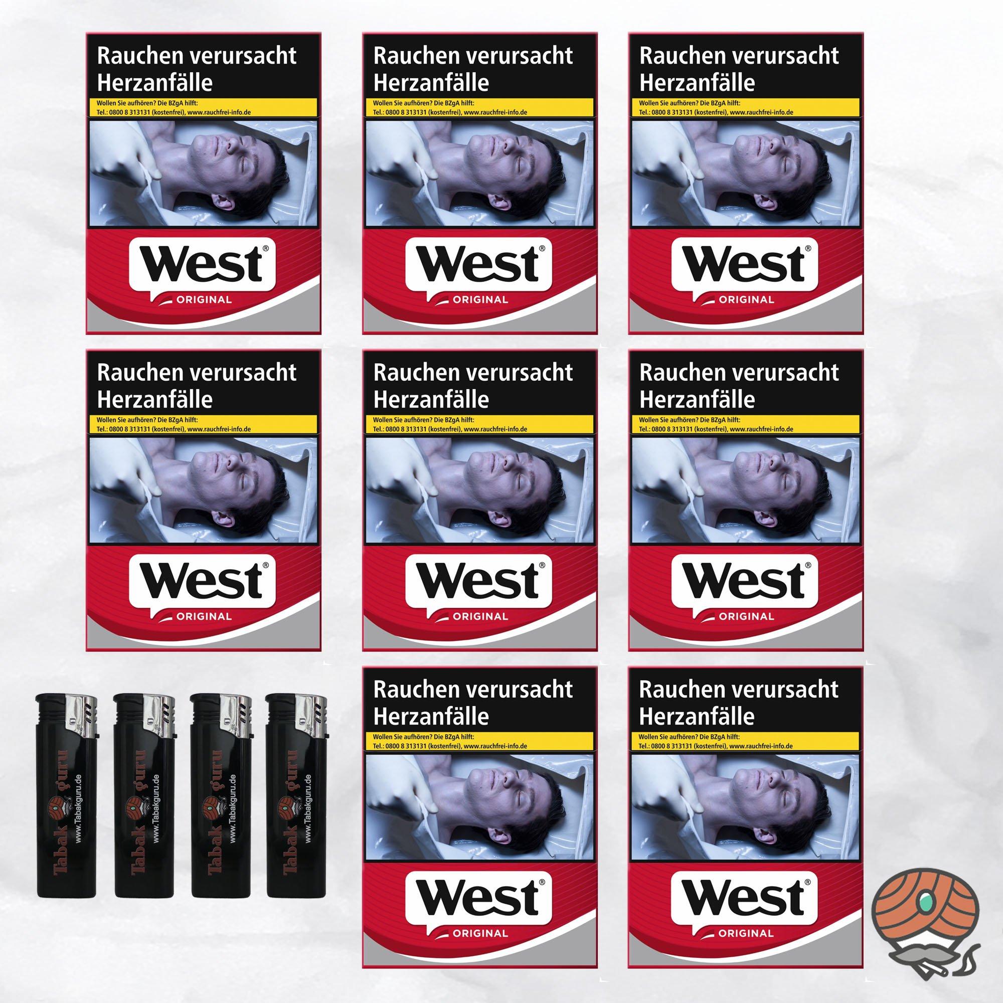 8 West Red Zigaretten á 38 Stück + 4 Feuerzeuge