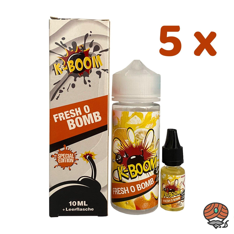 5 x K-BOOM Fresh O Bomb 10 ml Aroma + Leerflasche, Longfill
