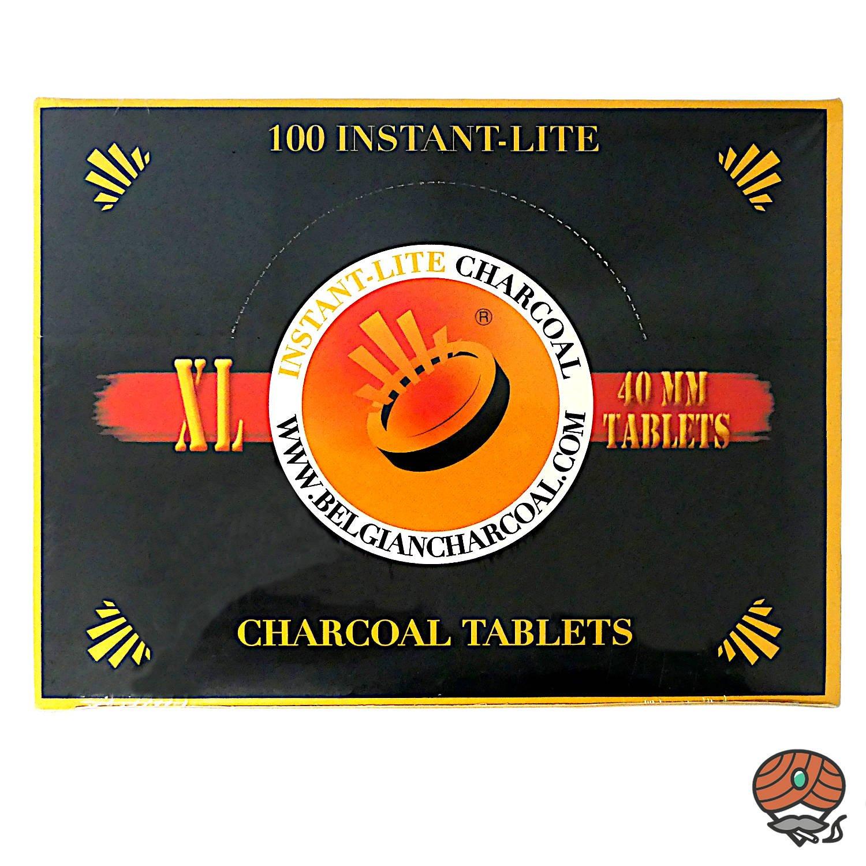 INSTANT LITE Charcoal Lite - XL Holzkohletabletten 40mm, Shishakohle, 100 Stück