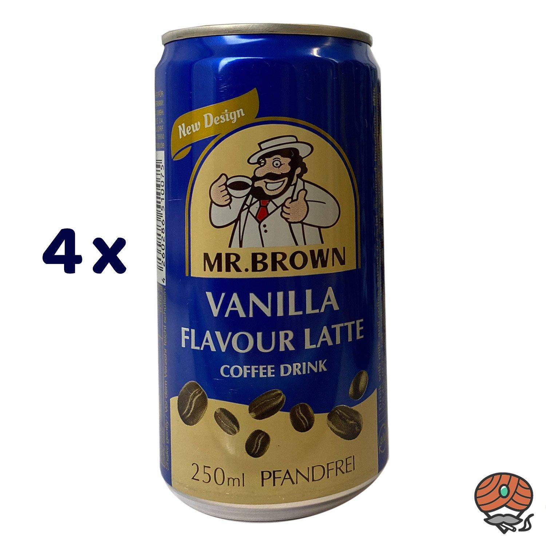 4 x Mr. Brown, Coffee Drink, Vanilla Flavour Latte, 250 ml Dose
