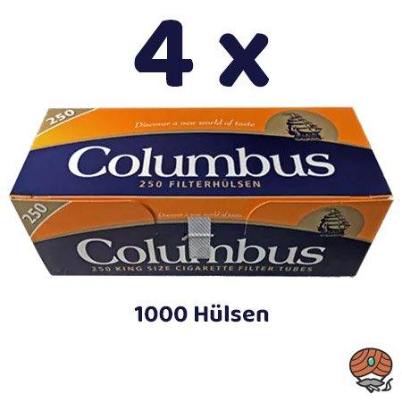 1000 Columbus King Size Filterhülsen, 4 x 250 Hülsen