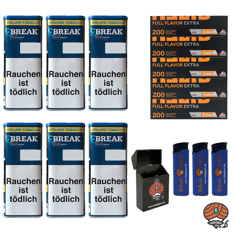 6x Break Blue/Blau XXL Volumentabak 115g, Full Flavor Extra Hülsen, Feuerz., Box