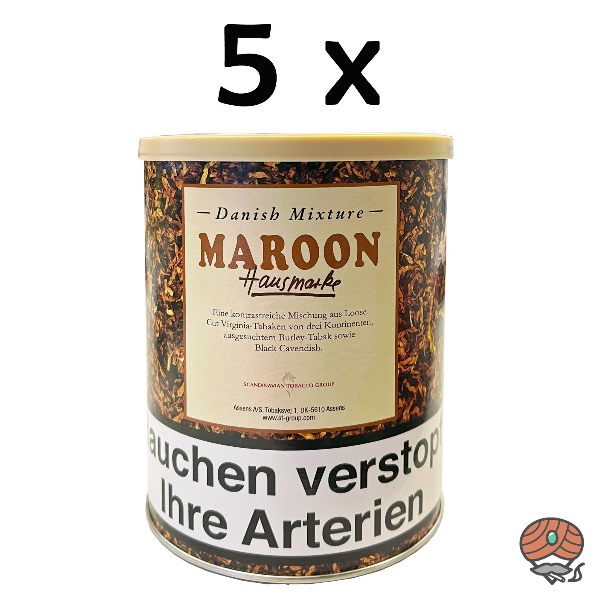 5 x Danish Mixture Hausmarke Maroon 200g Dose Pfeifentabak