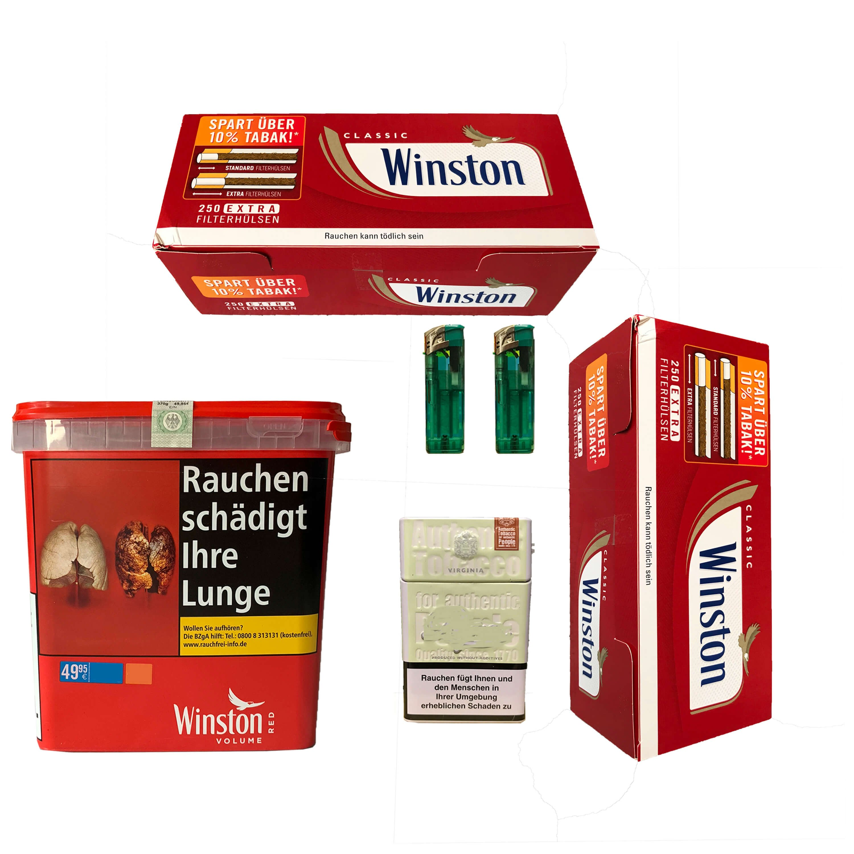 1x Winston Red/Rot Giant Box 280g Volumentabak, Extra Hülsen, Feuerz. Box
