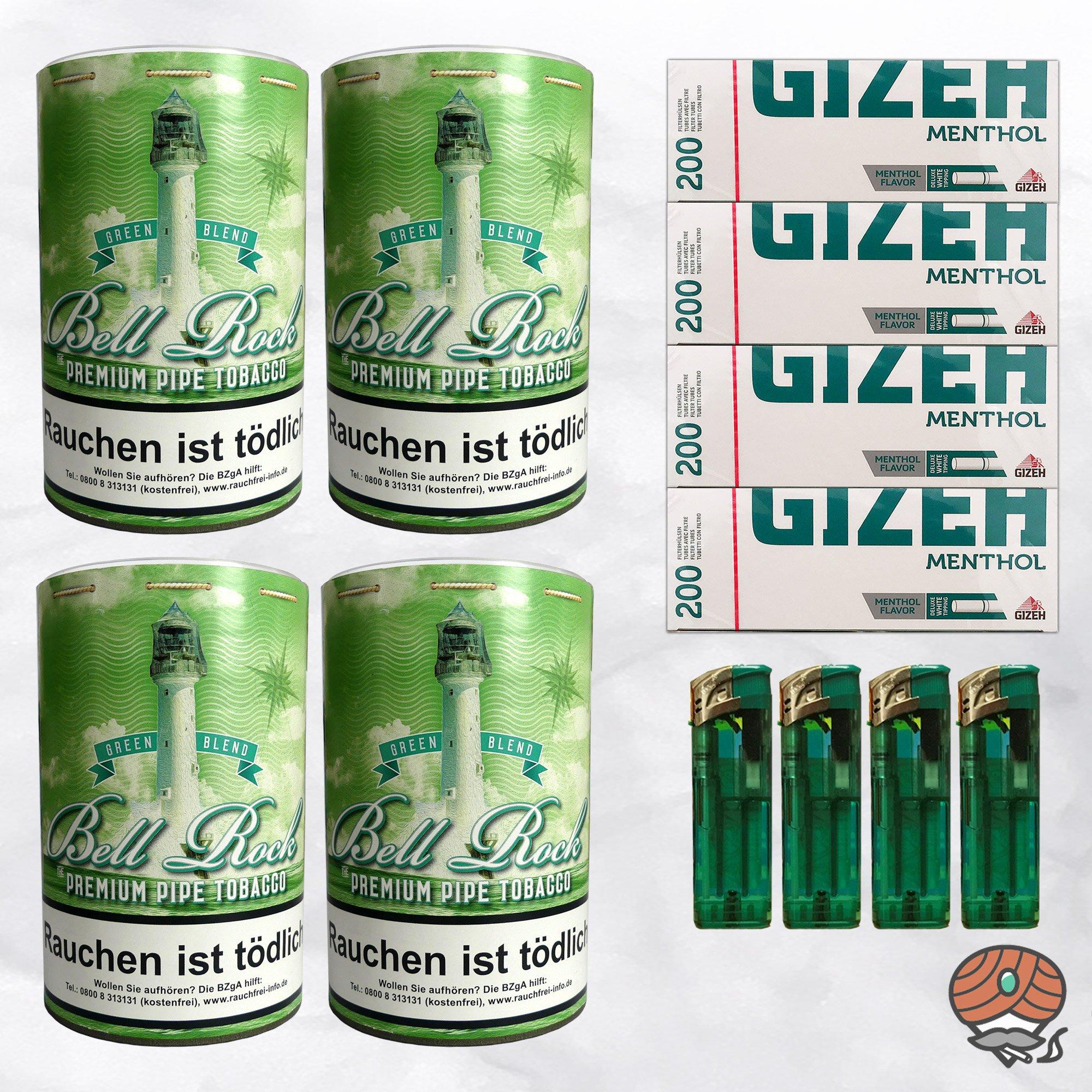 4 x Bell Rock Green Blend Menthol Pfeifentabak 160g Dose + 800 Menthol-Hülsen
