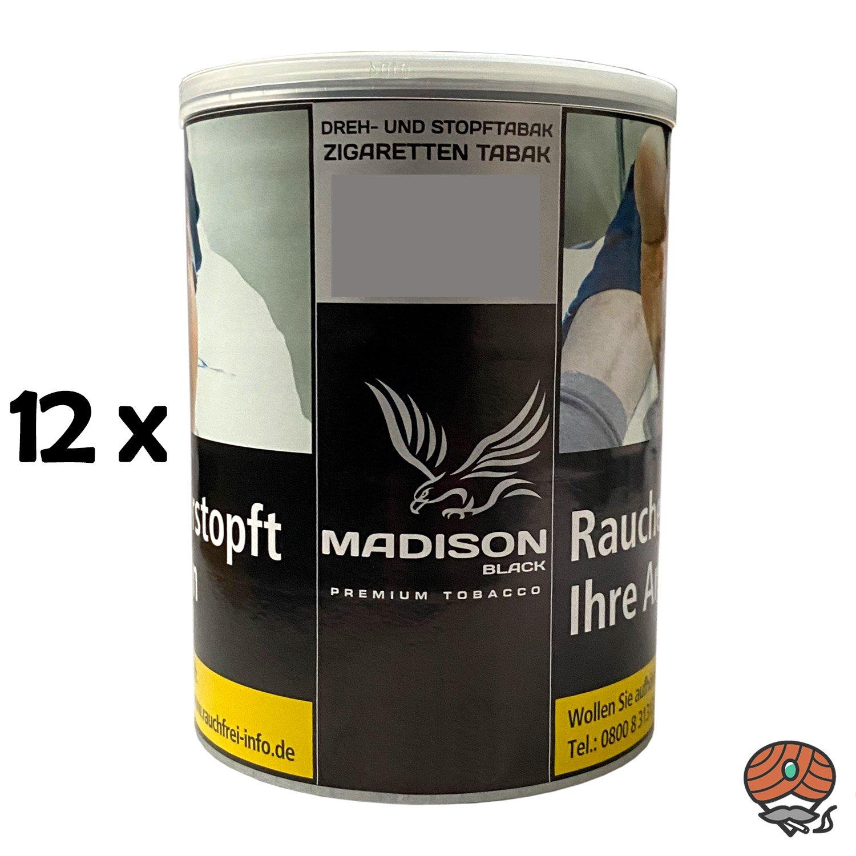 12x MADISON Black Premium Tobacco Zware Drehtabak / Stopftabak 120 g Dose