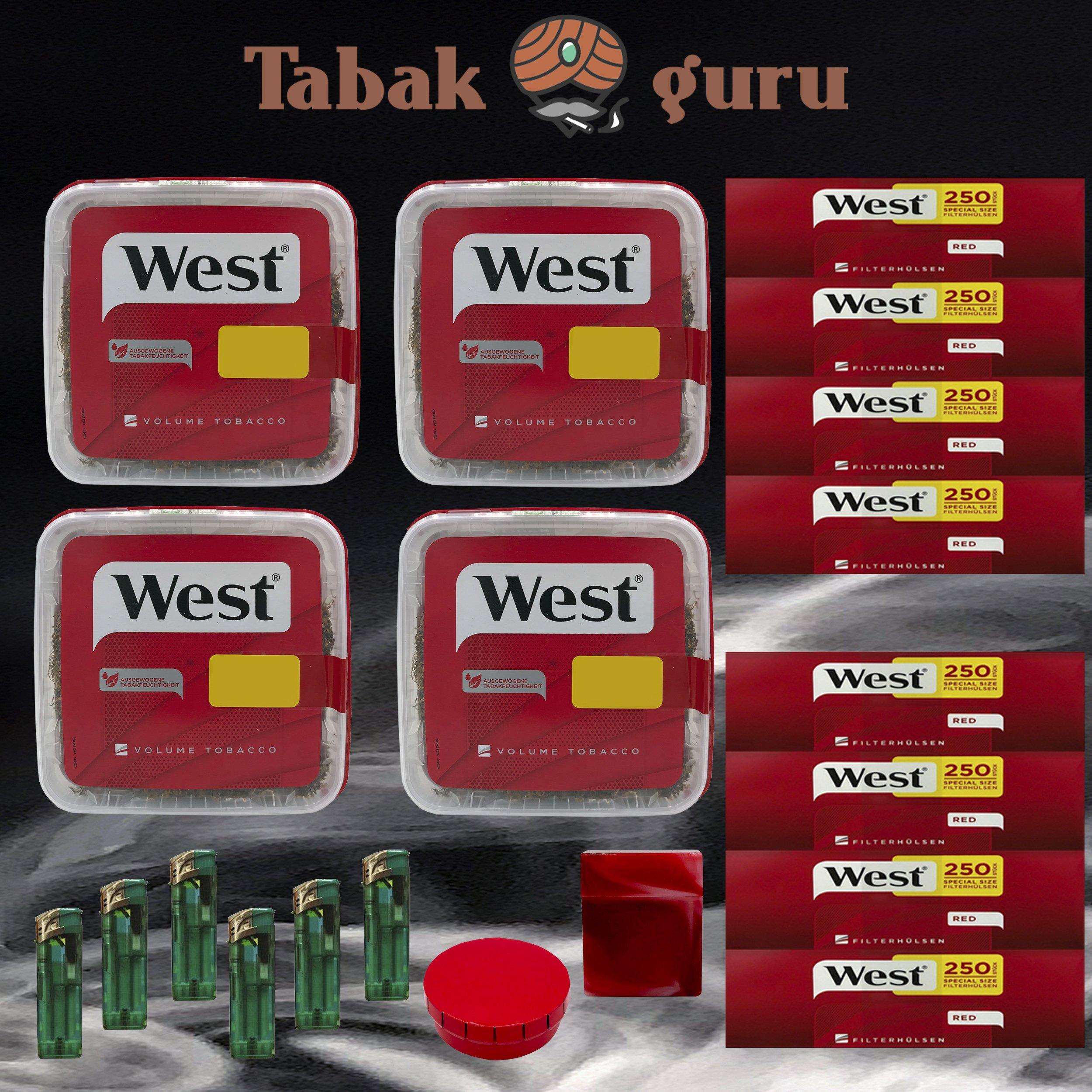 4x WEST 170g Volumentabak, 2000 West Extra-Hülsen, Feuerzeuge, Taschenascher, Box