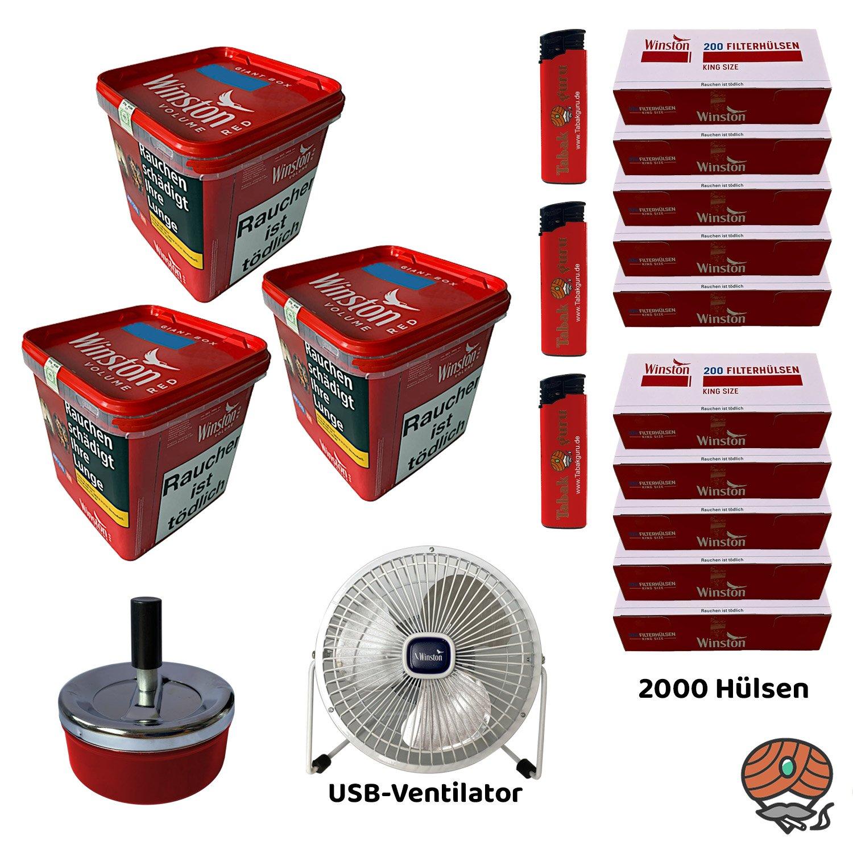 3x Winston Red/Rot Volumentabak Giant Box 260 g + King Size Hülsen + USB Ventilator