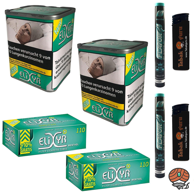 2x Elixyr PLUS Tabak 115g Zigarettentabak + Elixyr Menthol Hülsen + Menthol Steine