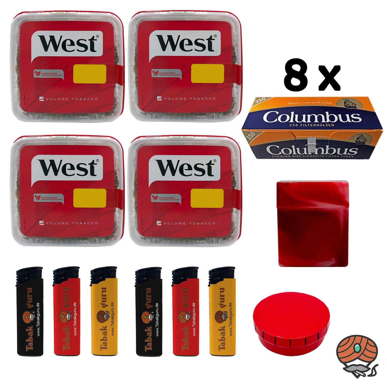 4x WEST Red / Rot Tabak Volumentabak à 170g, 2.000 Columbus Hülsen + Zubehör