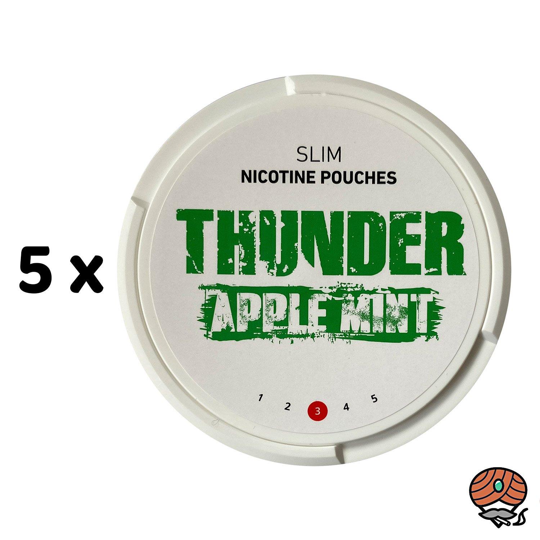 5 x THUNDER Apple Mint SLIM Nikotinbeutel / Kautabak / Snus
