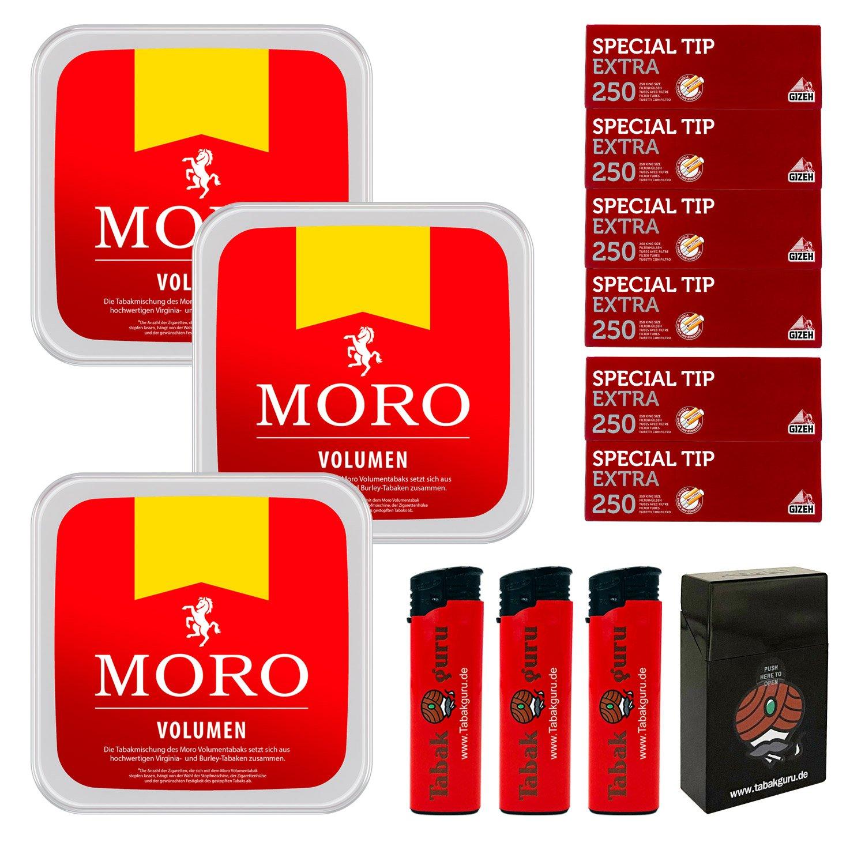 3 x Moro Rot Volumentabak 225 g Box + 1500 Gizeh Special Tip Extra Hülsen + Zubehör