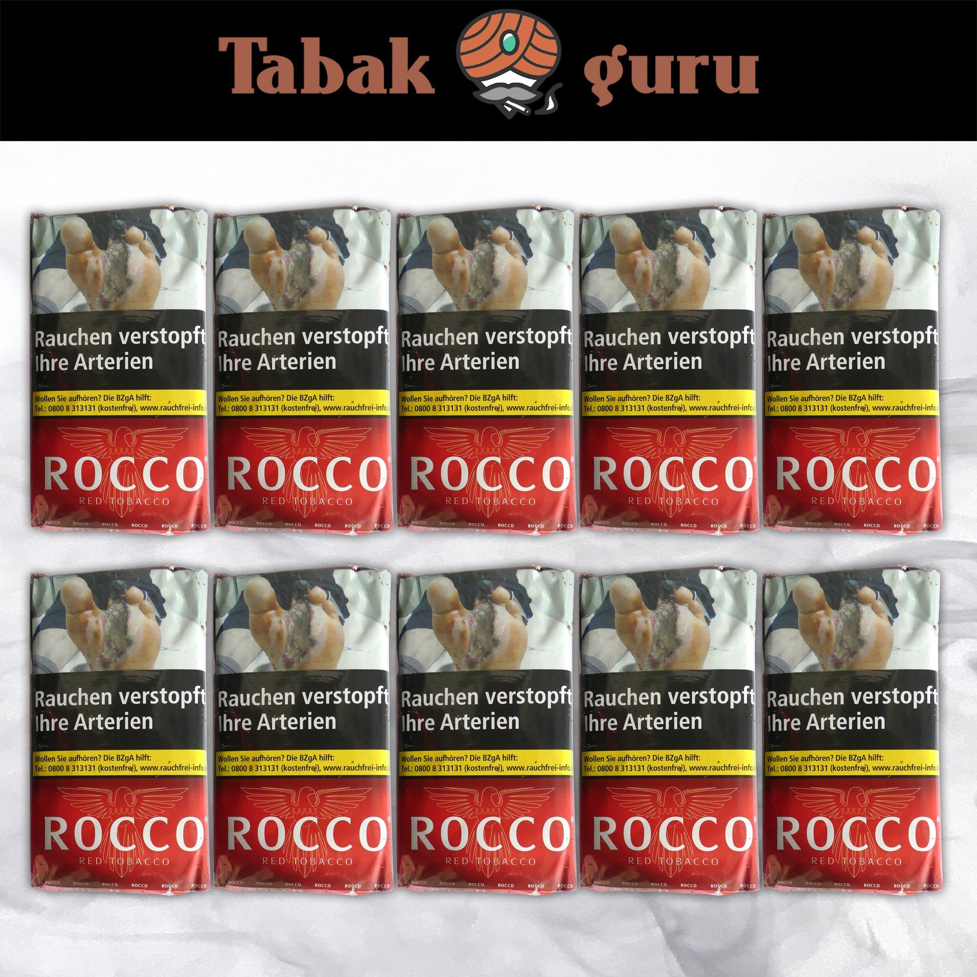 10 x ROCCO Red Tobacco Drehtabak 38 g