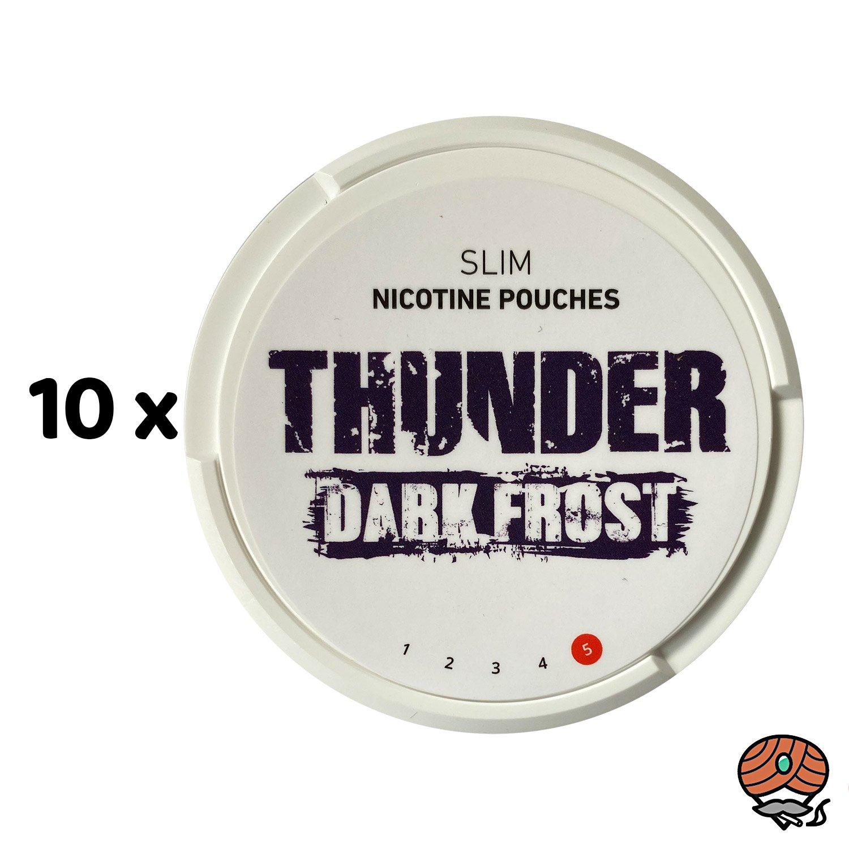 10 x THUNDER Dark Frost SLIM Extra Strong - Nikotinbeutel / Nicotine Pouches, Kautabak Snus