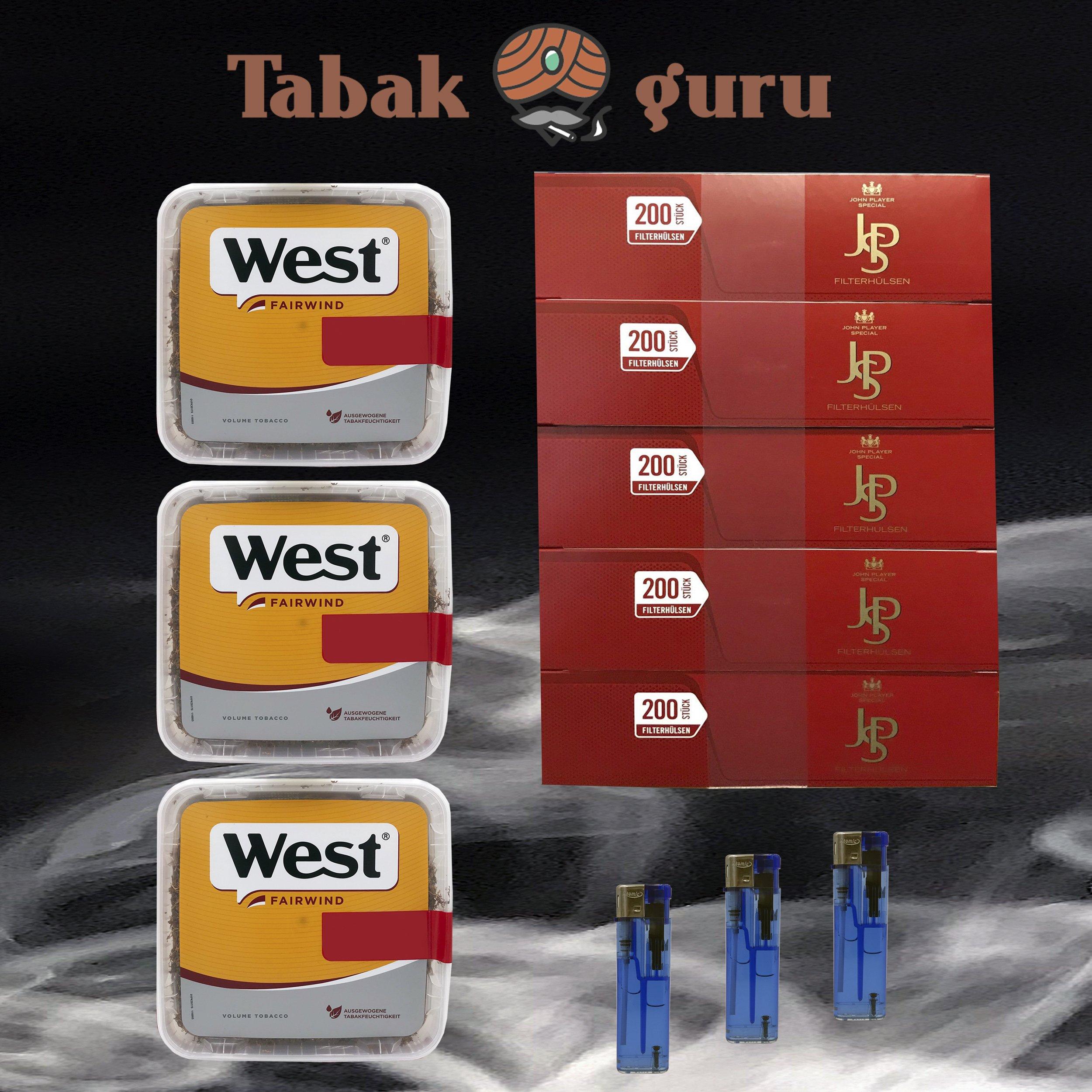 3x West Yellow Tabak Jumbo Box 185g, John Player Hülsen, Feuerzeuge