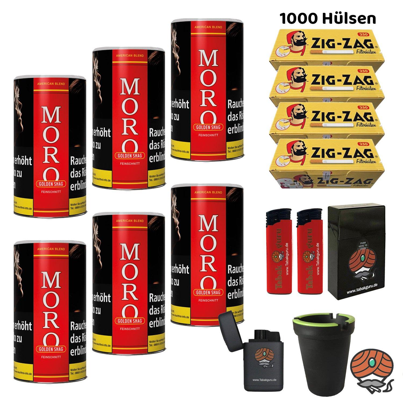 6x Moro Rot Golden Shag Dosen Feinschnitt-Tabak à 180g + 1.000 Zig-Zag-Hülsen + Zubehör