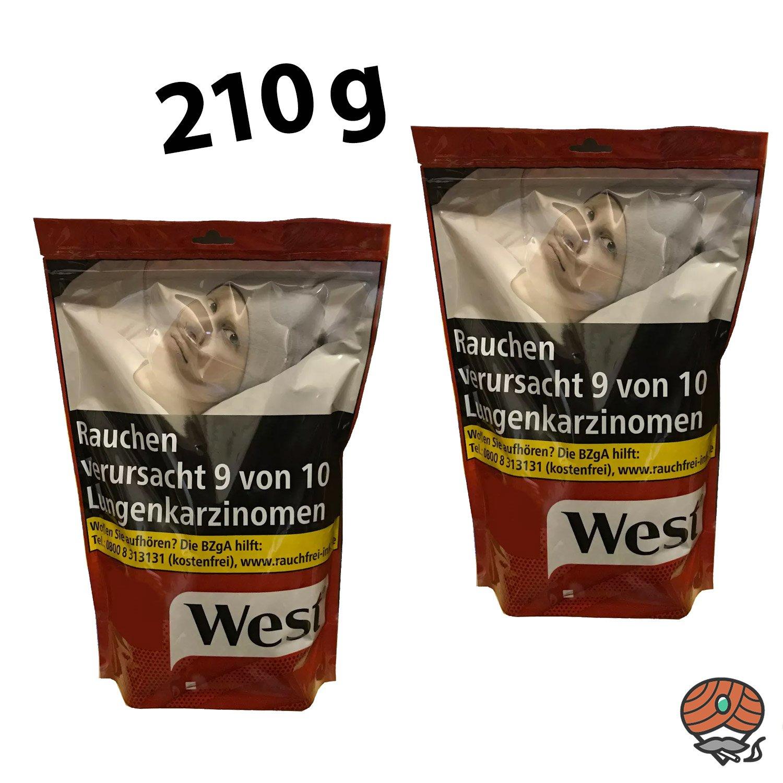 2 x West Red / Rot 210 g Volumentabak Beutel