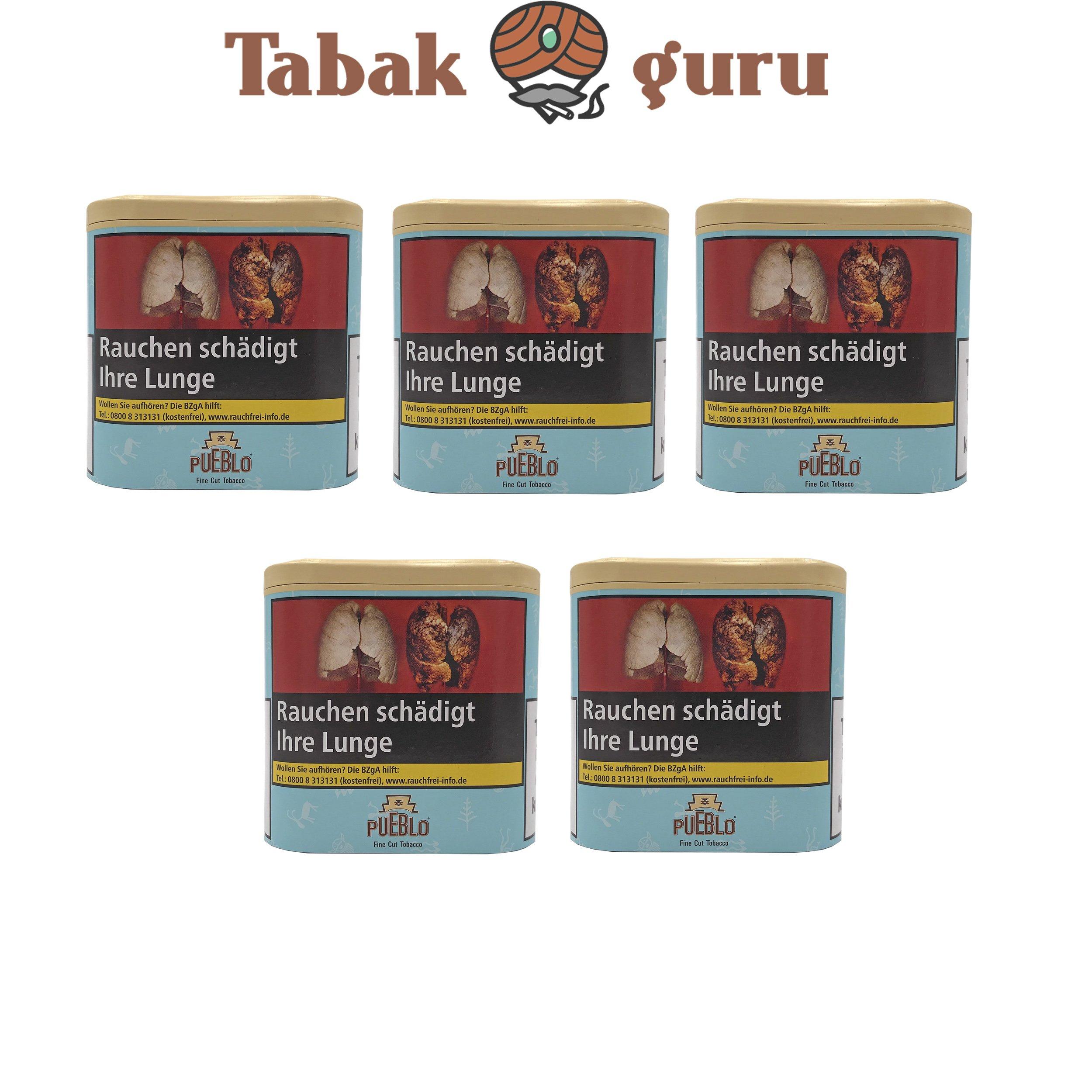 5x Pueblo Blau Feinschnitt Drehtabak Dose á 100g Tabak ohne Zusatzstoffe
